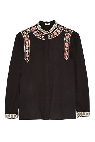 blouse embroidered black wool top