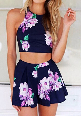 romper set two-piece floral navy