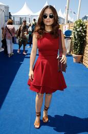 dress,red dress,cannes,salma hayek,sandals,shoes