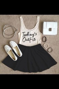 shirt white tank top black skirt studded loafers skirt outfit cream sleeveless white tank top black skater skirt