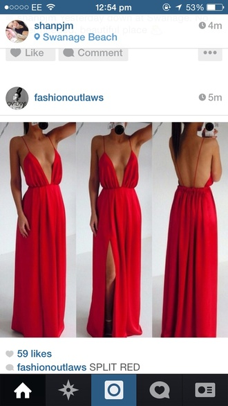 dress red dress maxi dress slit dress cut-out dress ebonylace.storenvy long dress cute dress red maxi dress gown sexy dress red long drape