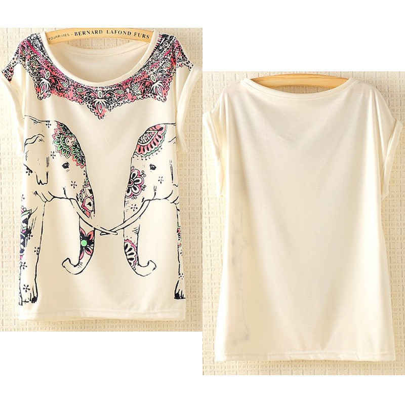 New Womens European Fashion Elephant Print Cotton Short Sleeve T Shirt-in T-Shirts from Apparel & Accessories on Aliexpress.com