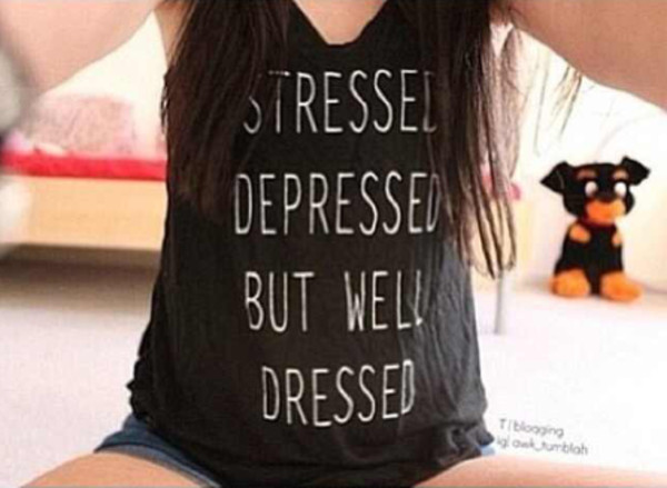 t-shirt stressed depressed but well dressed shirt