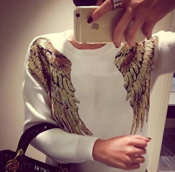 sweater golden wings