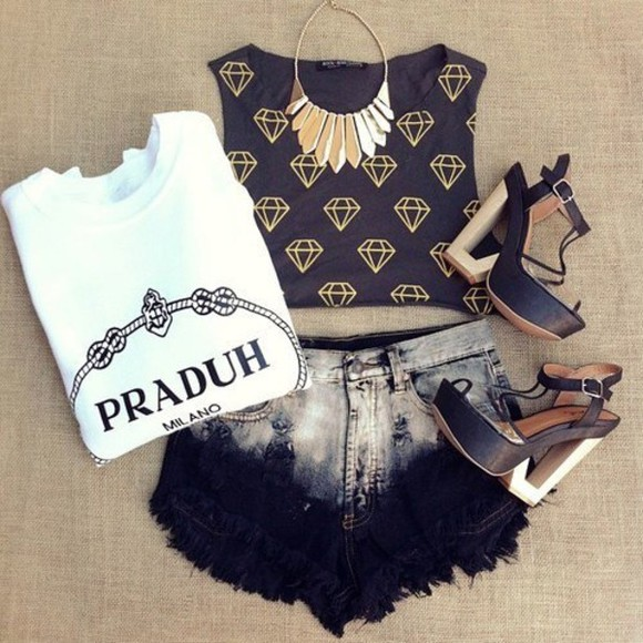 prada shoes black shirt shorts t-shirt praduh top white milano tee