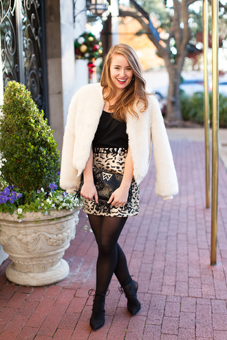 a lonestar state of southern blogger tights skirt jacket shirt tank top shoes opaque tights white coat fur coat top animal print printed skirt mini skirt winter outfits mini skirt and ankle boots white fur jacket