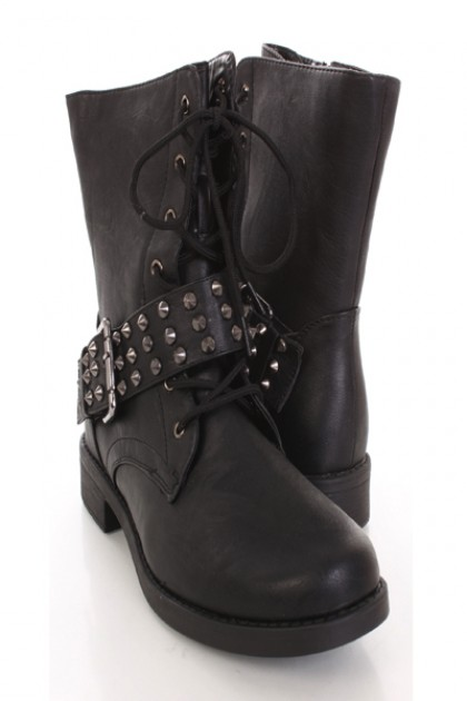Black Faux Leather Buckle Studded Strap Combat Boots @ Amiclubwear Boots Catalog:women's winter boots,leather thigh high boots,black platform knee high boots,over the knee boots,Go Go boots,cowgirl boots,gladiator boots,womens dress boots,skirt boots,pink