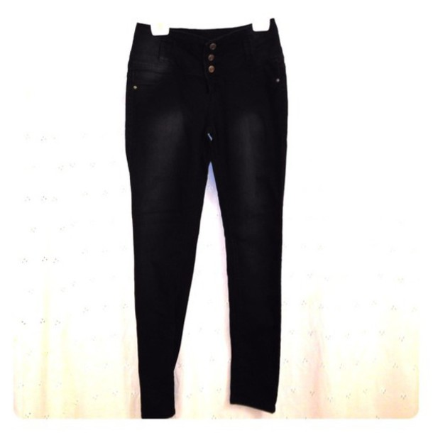 jeans hot kiss skinny lily black jeans black high waisted pants high waisted jeans three buttons
