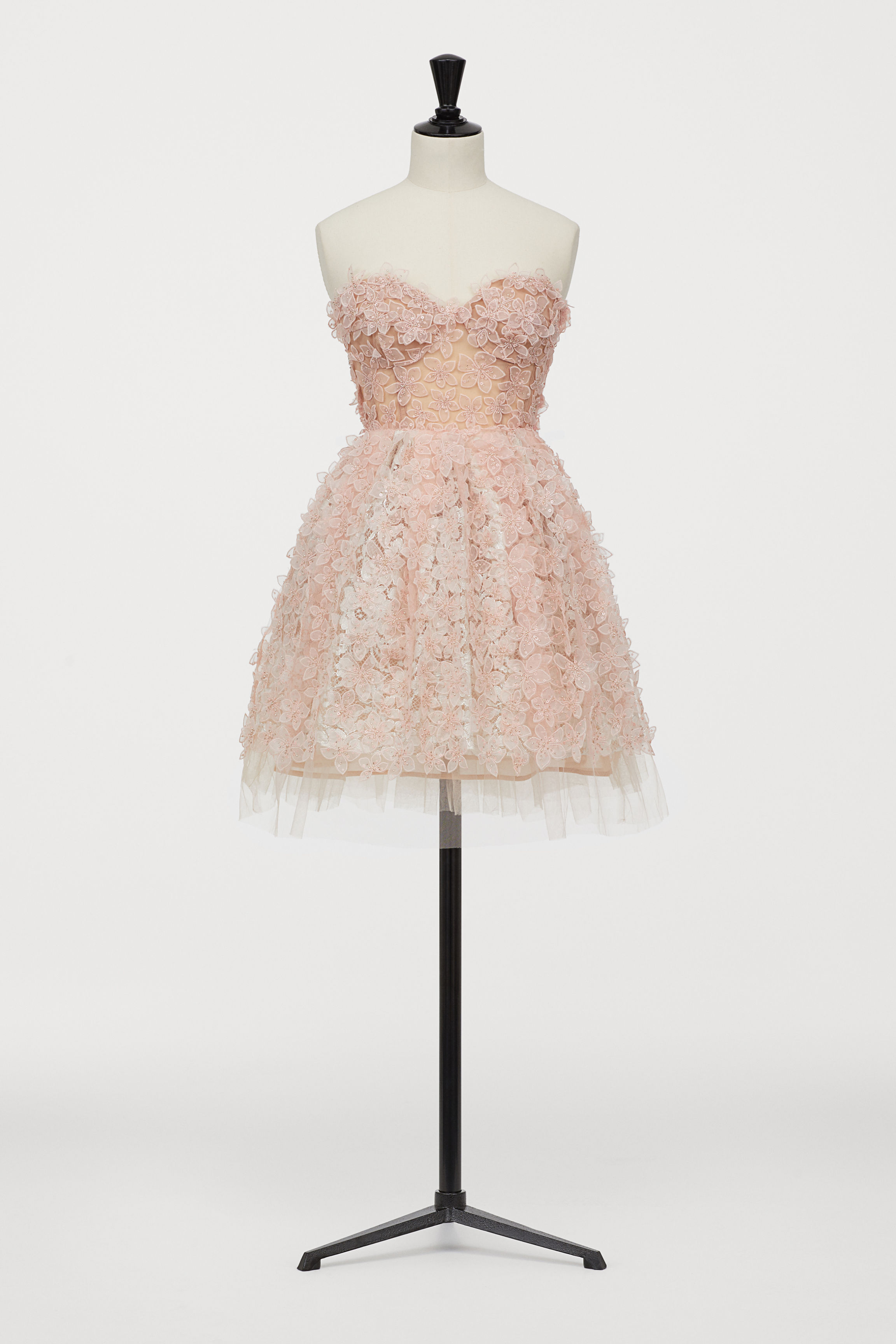 Short Tulle Dress with Lace - Light pink - Ladies   H&M US