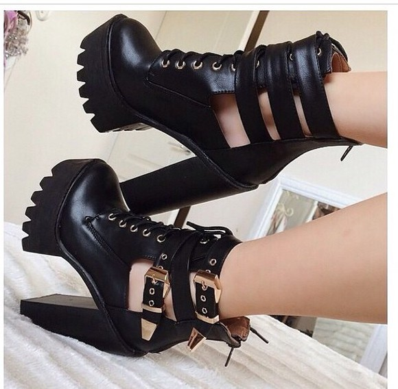 black heels boots cut out ankle boots