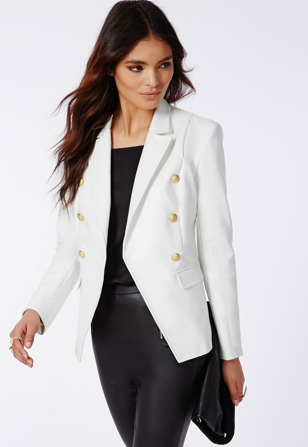 e680c453f2d Missguided - Bettie Faux Leather Blazer White