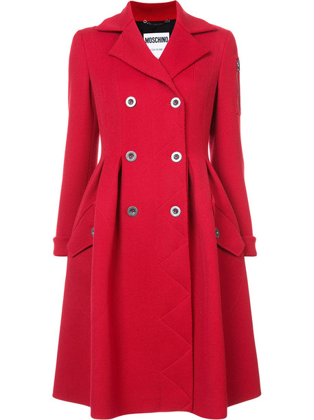 Moschino coat double breasted women wool red