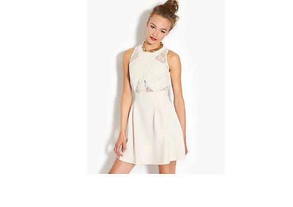 Ribbon Crepe Lace Skater Dress - BANK Fashion