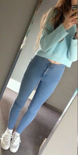 jeans sweater aliexpress aliexpress lookbook low price shoes white sneakers high waisted pants high waisted jeans thin material skinny jeans