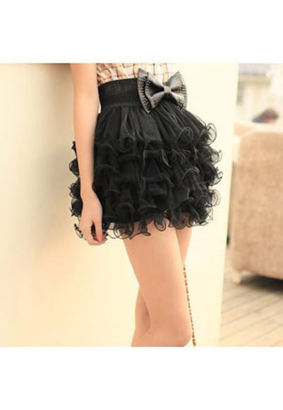 black skirt ruffle