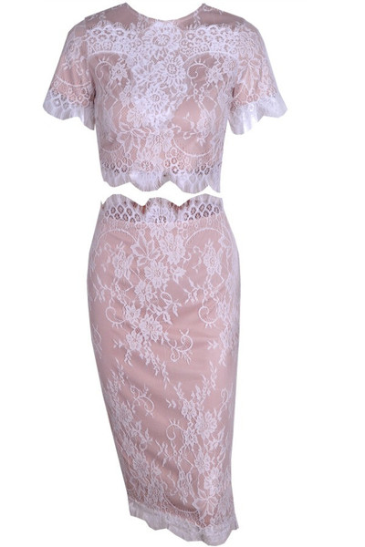 Heili - Lace Bodycon Two Piece Set (White)