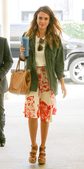 skirt,jessica alba,bag,blouse,shirt,sunglasses,jacket