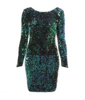 dress fashion sequins long sleeves green sequin sleeve green dress cool stylish party sexy it girl shop