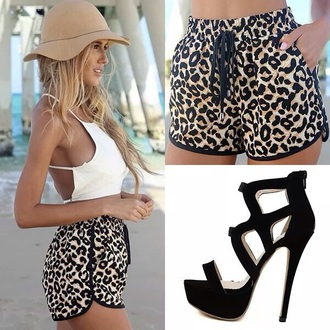 shorts leopard print style shoes