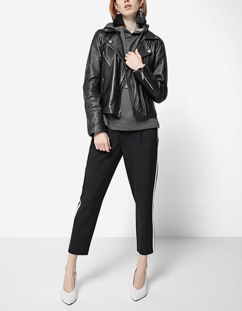 Stradivarius jacket biker jacket leather black