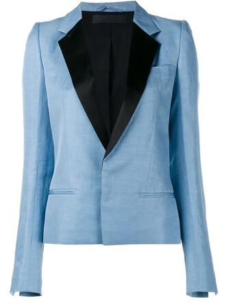 blazer jacket classic silk blue