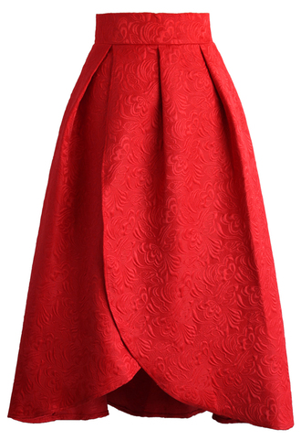 skirt tulip fairy embossed midi skirt in ruby chicwish