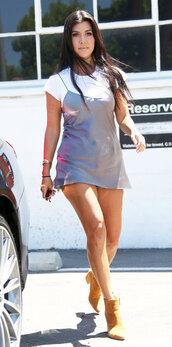 dress,mini dress,camisole,kourtney kardashian,ankle boots,kardashians,summer outfits,shoes
