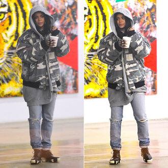 jacket bomber jacket rihanna jeans boots