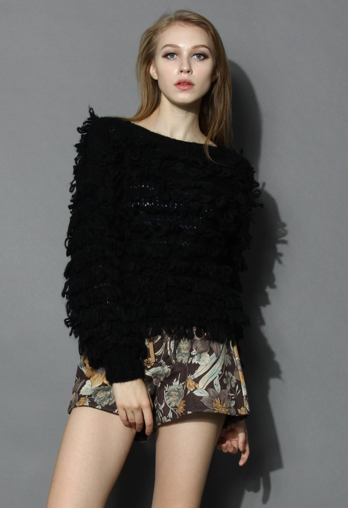 Black Shaggy Sweater - Retro, Indie and Unique Fashion