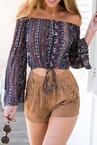 blouse girl girly girly wishlist crop crop tops cropped tribal pattern off the shoulder