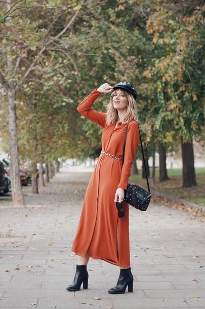 dress tumblr maxi dress orange orange dress long sleeves long sleeve dress hat fisherman cap boots black boots ankle boots bag