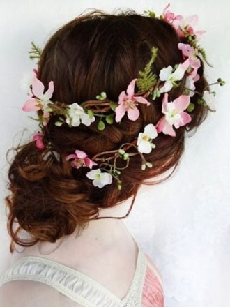 hair accessory pink white flower crown pretty stylish hipster wedding