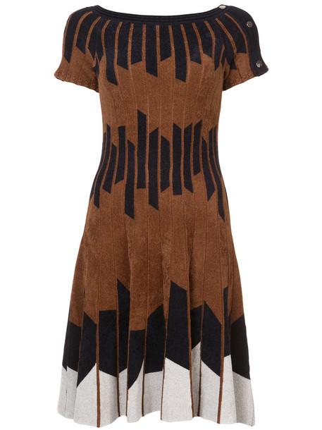 Yigal Azrouel dress women geometric knit brown