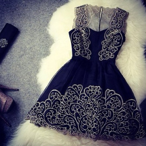 dress clothes lovely navy dress black dress vintage bag jewels prom dress pattern black pattern short little black dress lace dress cute dress dress want cute dark blue dress prom black lace cute gold danielle peazer white navy dress short party dresses