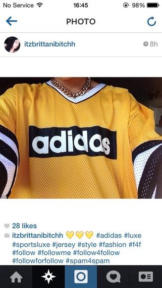 vintage top retro adidas yellow mesh jersey jewels