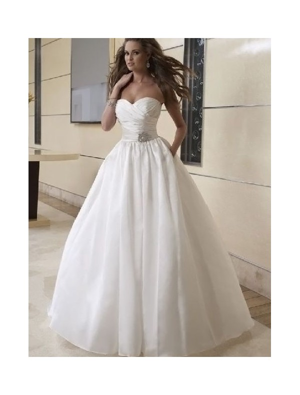 Taffeta Sweetheart Neckline Ball Gown 2 in 1 Wedding Dress with Convertible Skirt - Bridal Gowns - RainingBlossoms