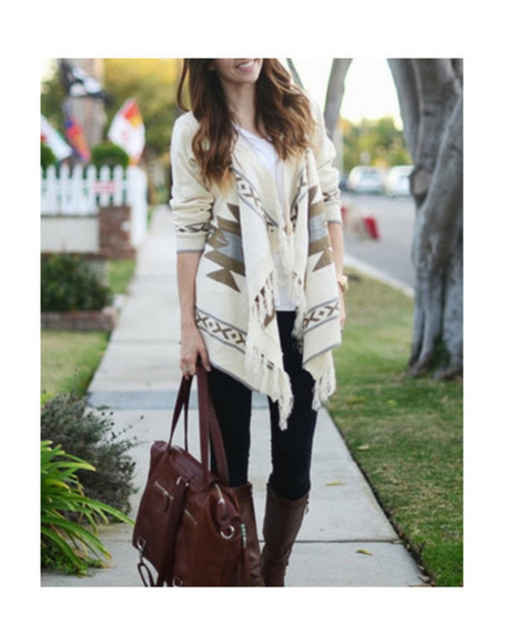 geometric cardigan jacket fall outfits blogger style tassel wow bag
