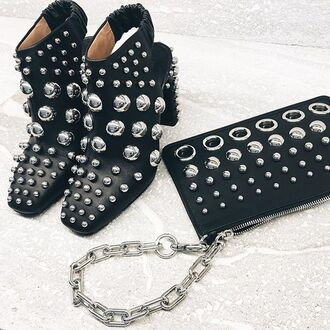 shoes tumblr slingbacks boots black boots studs studded studded shoes bag studded bag black bag high heels boots cut-out ankle boots black leather chain bag