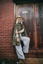 styles by hannah riles,blogger,hat,jewels,leopard print,flare,cape,wide-leg pants,shirt,pants,shoes,scarf,sunglasses