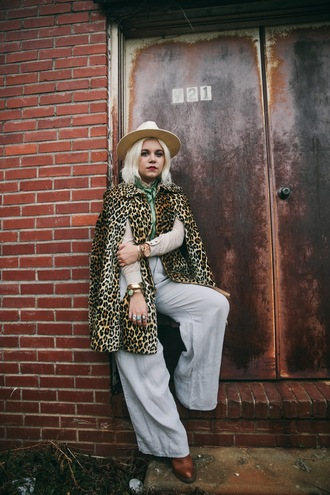 styles by hannah riles blogger hat jewels leopard print flare cape wide-leg pants