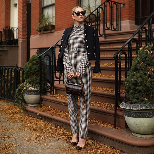 jumpsuit plaid pointed toe pumps handbag brown bag black coat sunglasses