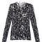 Marble-printed fint-knit wool sweater