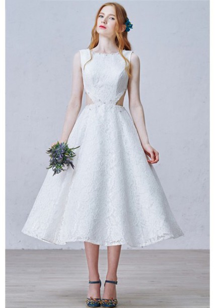 1d23542653e9 dress tea length beautiful white lace cut-out cut out prom dresses party  dress white