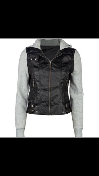 jacket leather jacket hoodie