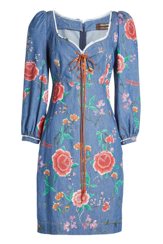 dress denim embroidered lace blue