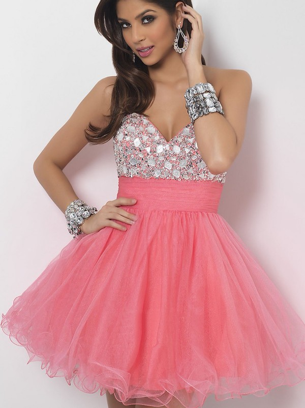 A-line Sweetheart Tulle Pink Cocktail Dresses/Short Prom Dress ...