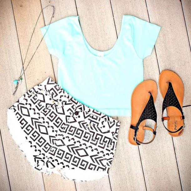 shorts aztec mint aztec shorts sandals cute outfits pretty outfit mint crop top white shorts black sandals top shoes tank top sandles denim pattern blue shirt black necklace t-shirt
