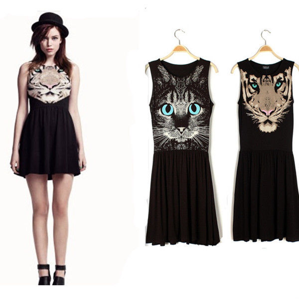 Pop Women Sleeveless Cat Tiger Animal Head Face Skater Dress Mini Pleated Skirt | eBay