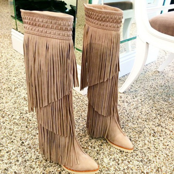 Shoes: fringe shoes, winter boots, boots, nude boots, fringes ...