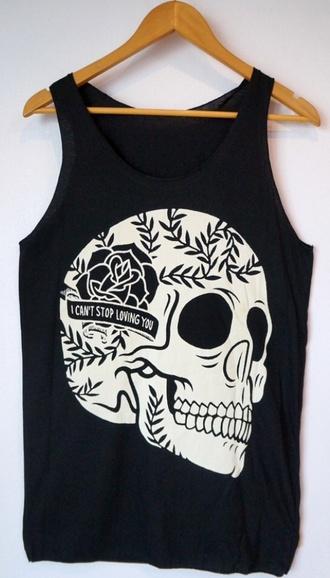 shirt tank top skull skull t-shirt rose skull